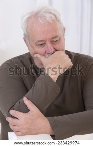 depressed overweight senior man - stock photo