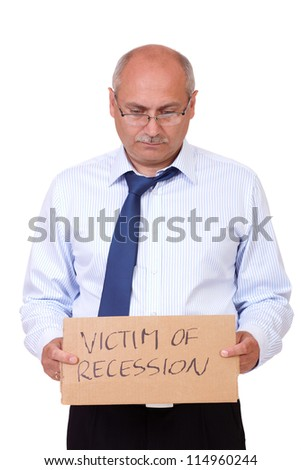 Depressed senior businessman holding a cardboard and asking about help, isolated on white background - stock photo