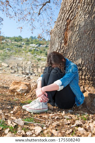 Depressed Teenager - stock photo