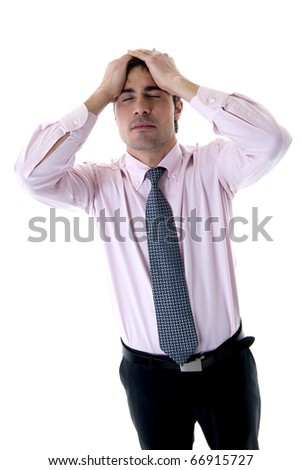 Depressed/Tired Businessman with hands on head