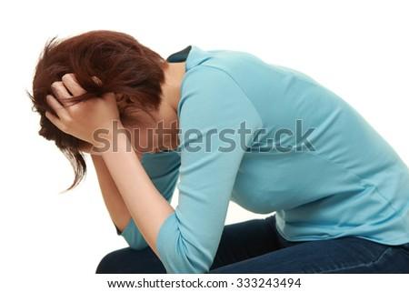 depressed woman - stock photo