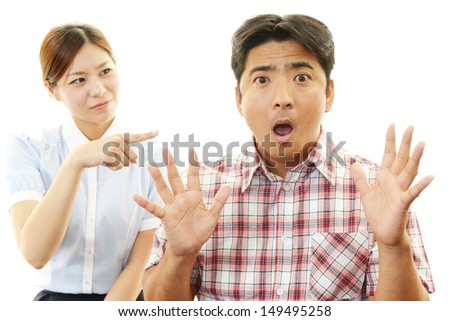 Depressed woman and man - stock photo