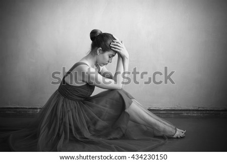 Depressed woman on the floor