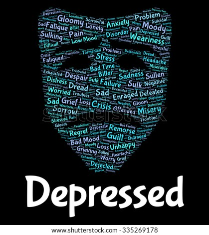 Depressed Word Showing Lost Hope And Desperate