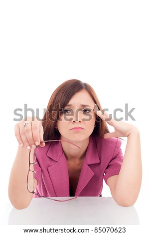 Depressed young busines woman isolated on white - stock photo