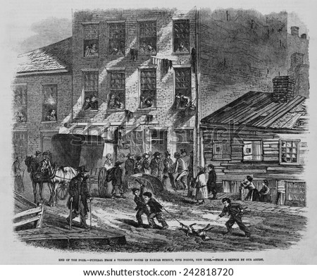 Depressing scene of poverty at Five Points in New York City. People at a tenement house watch men carry out a coffin; in the street, two boys drag a dead dog by one leg. Wood engravings of 1865. - stock photo