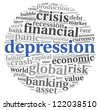 Depression and crisis concept in tag cloud on white background - stock photo