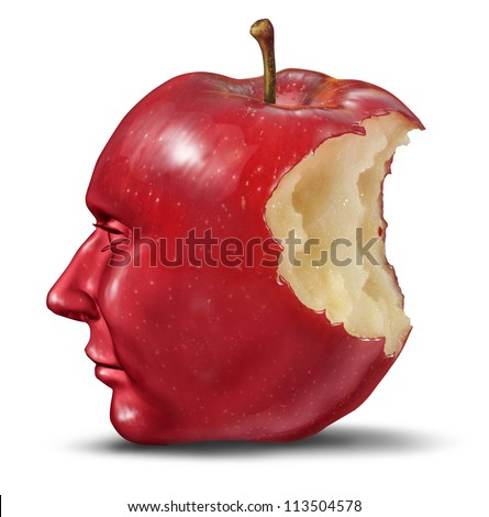 Depression and loneliness with human head in the shape of an apple with a bite eaten out of the red fruit as a Lobotomy and health care symbol of despair or loss of brain function losing memories. - stock photo