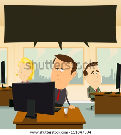 Depression At The Office/ Illustration of cartoon businessmen and women team at work, in their office feeling sad and depressed - stock photo