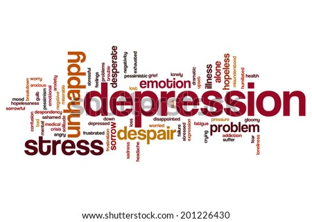 Depression concept word cloud background - stock photo