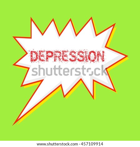 depression red wording on Speech bubbles Background Green-yellow