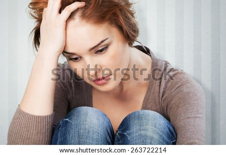 Depression, Women, Sadness. - stock photo