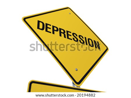 Depression Yellow Road Sign against a White Background