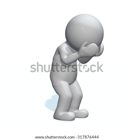 depressiv - 3D People isolated
