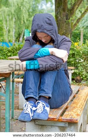 Depressive girl - stock photo