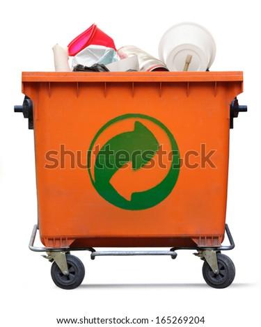 Der Grune Punkt on garbage bin - stock photo