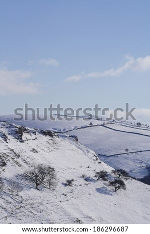 Derbyshire countryside in the snow