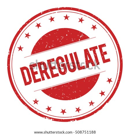 DEREGULATE stamp sign text word logo red.