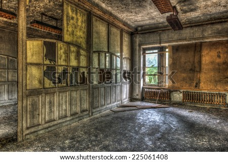 Derelict office in an abandoned factory, HDR - stock photo