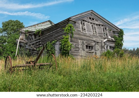Derelict Rural Old Abandoned House - stock photo