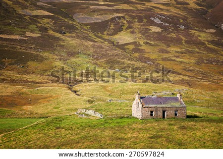 Derelict stone cottage in the Cairngorms, Scottish Highlands, Scotland, UK - stock photo