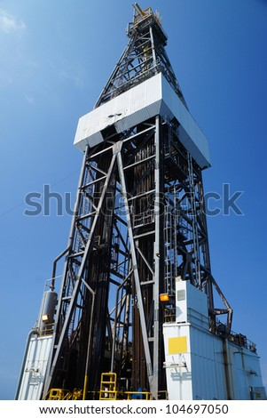 Derick of jack up drilling rig - stock photo