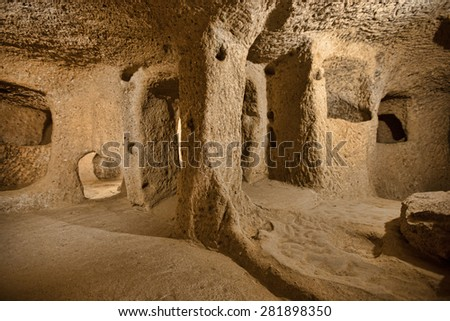 Derinkuyu cave city in Cappadocia Turkey  - stock photo
