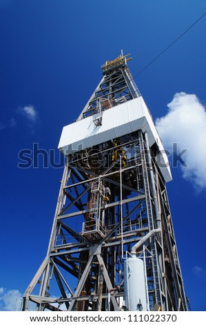 Derrick of Offshore Jack Up Oil Drilling Rig - stock photo