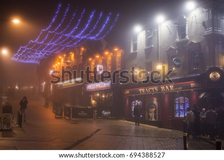 Derry Londonderry City Street in Foggy Night with Bars and Christmas Lights. Nov. & Londonderry Stock Images Royalty-Free Images u0026 Vectors | Shutterstock azcodes.com