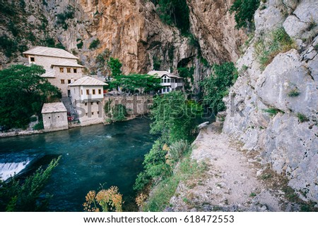 Dervish house in old town Blagaj , Bosnia and Herzegovina