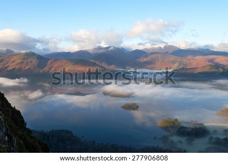 Derwent Water on a cold winters morning near Keswick in the English Lake District, Cumbria, England. UK. - stock photo