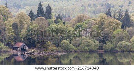 Derwentwater - ruined boathouse - stock photo