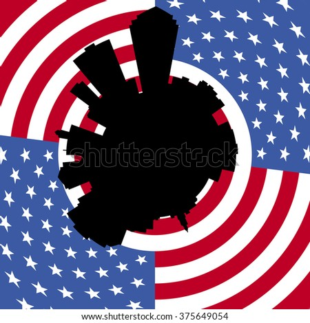 Des Moines circular skyline with American flag illustration - stock photo