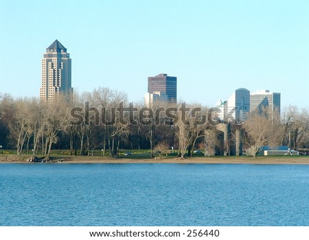 Des Moines skyline as seen from Gray's Lake - stock photo
