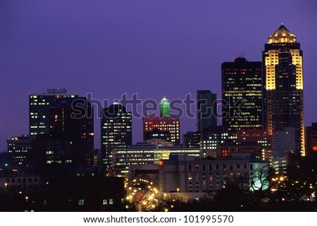 Des Moines skyline at night - stock photo