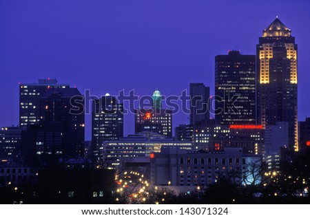 Des Moines Skyline at night, Iowa, USA - stock photo