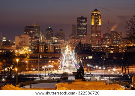 Des Moines skyline at sunset. Des Moines, Iowa, USA. - stock photo