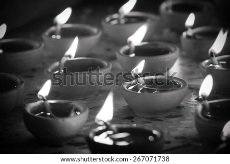 desaturated image of traditional oil lamp