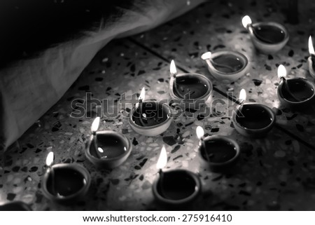 desaturated image of traditional oil lamp - stock photo