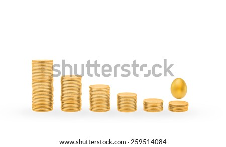 Descending gold coin stacks and a small golden egg: A small chance of a golden opportunity concept  - stock photo