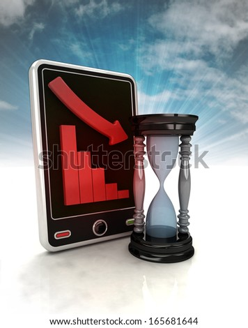 descending graph time stats on phone display with sky illustration - stock photo