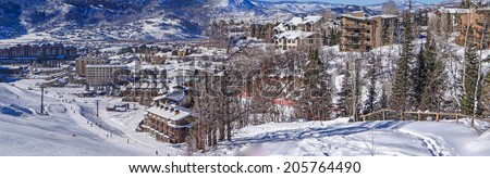 Descending into base area of  Steamboat Springs ski area, Colorado - stock photo
