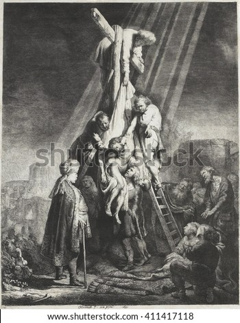 Descent from the Cross, by Rembrandt van Rijn, 1633, Dutch print, etching on paper. Christ taken down from the cross, by Nicodemus and Joseph of Arimathaea who are standing on the ladders - stock photo