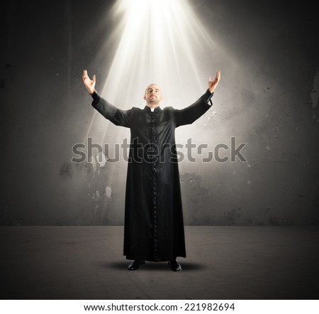 Descent of the Holy Spirit to a priest - stock photo