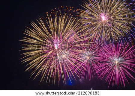 Description:  Fireworks on the fourth of July in Hawaii. Title:  Fireworks Finale.