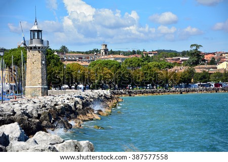 Desenzano town Italy Garda Lake lighthouse coastline landscape