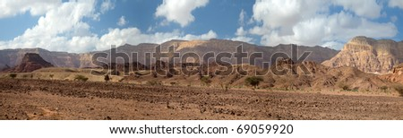 Desert and rocks in Timna national park in Israel