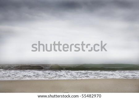 desert beach in elba island in winter - stock photo
