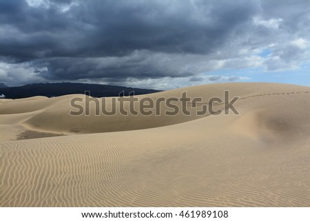 Desert by the sea, sand dunes in Maspalomas, Gran Canaria, Spain