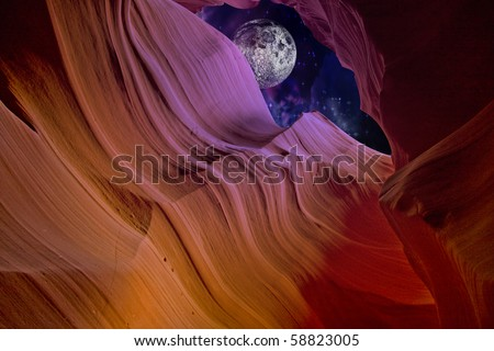 Desert Canyon Night with deliberate coloring - stock photo